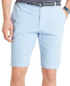 Izod Belted Striped Seersucker Shorts
