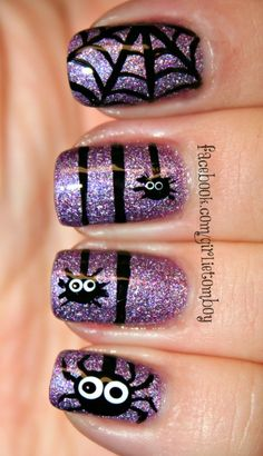 Purple Glitter Spider Web