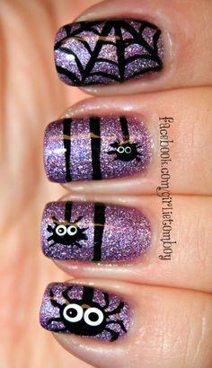 Halloween blingy spider mani