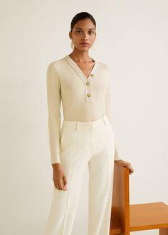 Mango Buttoned Cotton T-Shirt - Sand Xs Tops Manga Larga, Ribbed Top, Mango Fashion, Fall Wardrobe, Knitting Designs, T Shirts, Fabric Design, Fashion Online, Long Sleeve Tops