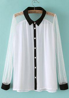 White Long Sleeve Contrast Trims Chiffon Blouse US$20.79