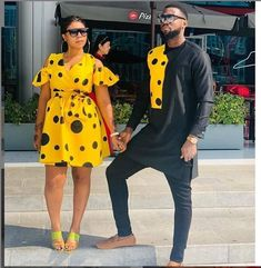 ankara stil How about this look for you and your spouse for a photoshoot,engagements,weddings,outings etc? I will carefully sew them for you and your spouse with high quality fabric prints Couples African Outfits, African Clothing For Men, African Attire, African Dress, African Women, African Fashion Ankara, Latest African Fashion Dresses, African Print Fashion, African Prints