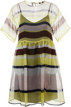 MSGM Silk Sheer Striped Dress
