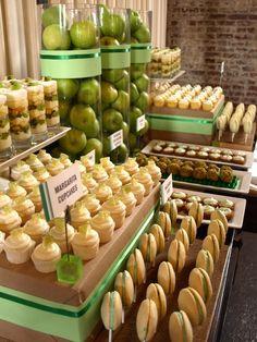 Green dessert table, kiwi shortcake shooters, margarita cupcakes, key lime pies, pistachio cheesecake truffles
