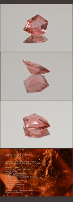 Special Cut of an Orangy Red Tourmaline. Pretty Gem. Don't miss it. Fancy Cut. 3.80 ct. Loose Tourmaline Gemstones for sale MdMaya Gems