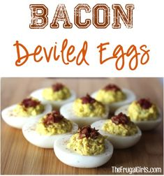 Easy Bacon Deviled Eggs Recipe!  Give your classic egg a makeover with this simple recipe.  Bacon makes everything better!! | TheFrugalGirls.com