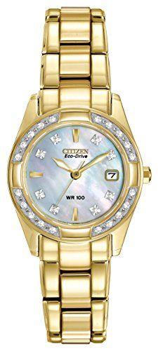 CITIZEN ECO-DRIVE Women s EW1822-52D Regent Gold Tone Diamond Watch 635fb0234