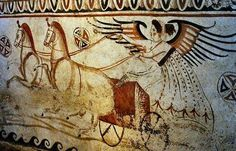 Tomb fresco (350-320 BCE) of Nike on a chariot, Paestum. Paestum Archaeological Museum, Italy