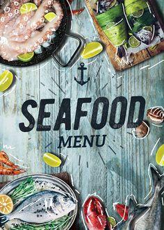 Seafood Menu Seafood Store, Seafood Menu, Seafood Restaurant, Restaurant Design, Ceviche, Lobster Menu, Upscale Restaurants, Food Signs, Fish Logo