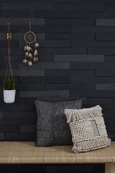 Love that black textured wall - create your own decor - bedroom, livingroom, kitchen, mudroom, etc. Easy to apply with Peel and Stick technology. Black Bedroom Walls, Black Accent Walls, Wood Bedroom, Black Walls, Bedroom Ideas, Master Bedroom, Accent Wall In Kitchen, Tile Accent Wall, Accent Wall Bedroom