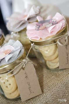 vintage shabby chic party - button cookies in a jar party favor for guests https://www.facebook.com/esinika.events