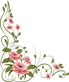 Page Borders Design, Border Design, Borders For Paper, Borders And Frames, Vector Flowers, Flower Clipart, Flower Frame, Flower Art, Free To Use Images