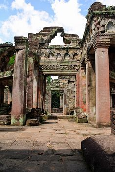 Columns and ornate stonework at one of the Angkor temples, Cambodia