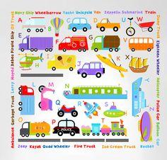 Transportation Alphabet Peel and Stick Wall Decals #3004 - InnovativeStencils