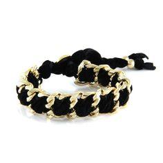 #Ettika 's Black Velvet Double Chain Bracelet with Button Closure