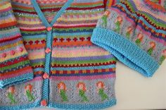 Aqua Mermaid Cardigan - Size 3-4 years - Hand knitted | Krazy Knits by Karen | madeit.com.au