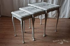 French Style Shabby Chic Nest of Tables with print by touchthewood