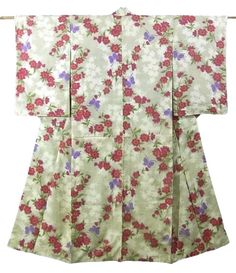 This is a charming vintage Meisen Kimono with 'sakura'(cherry blossom) and cute butterfly pattern, which is woven on the soft color base
