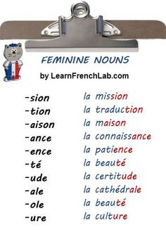 Learn how to identify the gender of French Nouns. Easy Tips to find out instantl… Learn how to identify the gender of French Nouns. Easy Tips to find out instantly if a noun is masculine or feminine. French Verbs, French Grammar, French Phrases, French Sayings, Ap French, Study French, Core French, French Trip, French Stuff