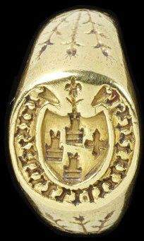 Gold signet ring with an oval bezel engraved with an unidentified arms and inscribed in black letter iohanni loupsht(?) , West Europe, 15th century.