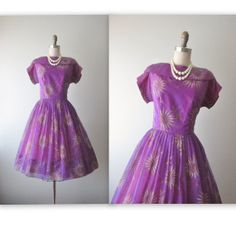50's Chiffon Dress // Vintage 1950's Floral by TheVintageStudio, $88.00