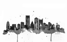 Pittsburgh Skyline - Print of original watercolor illustration by Lexi Rajkowski by lexisillustrations on Etsy