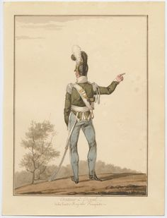 Chasseur è cheval dela Garde Royale françcaise 1815 Finart, David Noël Dieudonné (artist) One of a collection of 88 original watercolors signed by Finart of Russian, British, Austrian, Bavarian, Prussian and French uniform figures. Soldier in green and gray pointing with right hand, from behind.