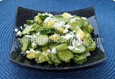 Cucumber Avocado Salad with Feta-----2 small ripe avocados, peeled (pitted and cubed), 2 cups thinly sliced cucumbers (about 4 medium cucumbers), 1/4 cup finely chopped fresh mint, 1/2 cup crumbled feta cheese, 1 tablespoon extra-virgin olive oil, 2 tablespoons lemon juice and salt & black pepper to taste