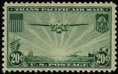 """Image of Transpacific Airmail stamp, I've imagined the stamp to show a dawn arrival in Asia of a 4 engine """"China Clipper"""" from the U.S. On the ocean below, to the right are sailing ships of east and west. To the left are steam ships of the time. It is the dawn of a new era on the Pacific."""
