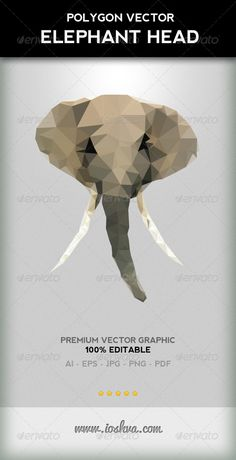 GraphicRiver Polygon Triangular Vector Elephant Head With Tusks 2864567