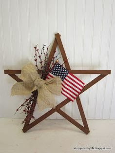 My Simple Country Life: Scrap Wood Patriotic Star Wreath. Could do this for Christmas with different ribbon and a jingle bell or small stocking.