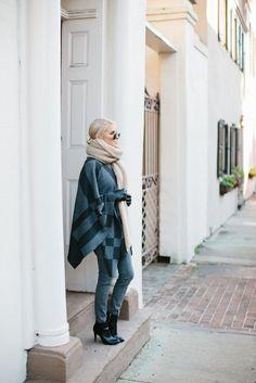 Bundled Up J. McClaughlin Plaid Poncho Madewell grey High Riser Jeans street style 2016 // Charleston Fashion…