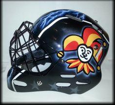 Goalie mask 1/2 #airbrushing #goalie Goalie Mask, Airbrush Art, Football Helmets