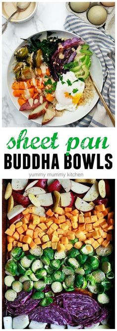 Sheet Pan Fall - Winter Buddha Bowls. We love this simple and healthy vegetarian dinner.