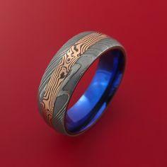 Damascus and 14k ROSE GOLD Mokume Gane Ring with Anodized Titanium Sleeve Custom Made - Stonebrook Jewelry  - 3