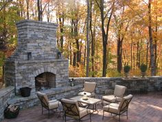 Love a rock fireplace.