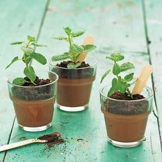 Trick your garden party guests with a potted plant they can eat! Potted #ChocolateMint #Pudding from #MarthaStewart, found at @Edamam.