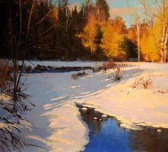 Winter Shadows acrylic on panel Shadow Painting, River Painting, Painting Snow, Great Paintings, Nature Paintings, Landscape Paintings, Watercolor Landscape, Abstract Landscape, Impressionist Paintings