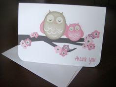 Mama Owl & Cherry Blossoms Thank You Note by BackwoodDesignStudio, $30.00