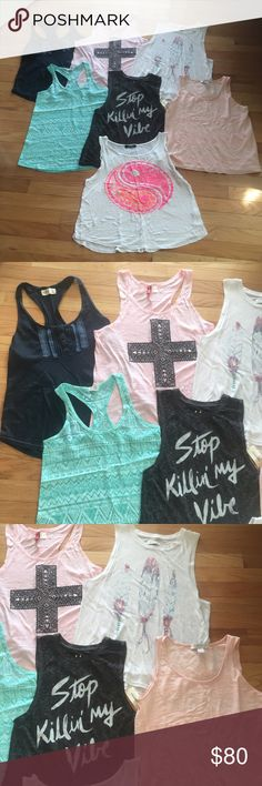 Summer Tank Bundle Bundle of 7 tanks! Perfect for the summer. Size ranges from XS - S. Brands ranging from hollister, abercrombie & fitch, aeropostale, H&M, forever 21, etc. Most worn once, one is brand new with tags! Forever 21 Tops Tank Tops