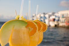 Caprice of Mykonos Cocktail Photography, Food Photography, Cocktail Drinks, Cocktails, Rice Bar, Fruit Sticks, Mykonos Greece, Summer Fruit, Cool Bars