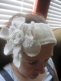 Shannon Makes Stuff: Sweater Refashion... Turned into a Flowered EarWarmer