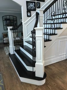 Painted Staircase - Black and White - Elegant - Modern - Home Decor - Home Renovation. Black Stair Railing, Black Staircase, Foyer Staircase, Staircase Remodel, Staircase Makeover, Railings, Staircase Molding, Painted Staircases, Painted Stairs