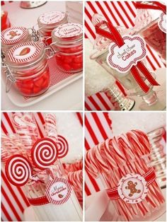 Christmas Candyland Red Peppermint Party Decorations Christmas Candyland Party Ideas & Desserts Table - DIY decorations, printables, treats and favors for a red and white Holiday celebration! Christmas Party Themes, Xmas Party, Christmas Candy, Christmas Traditions, Christmas Holidays, White Christmas, Christmas Ideas, Christmas Tablescapes, Christmas Sweets