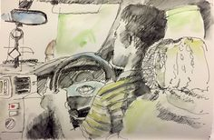Day 180 - Driver I've been spending so much of my time stuck in the Dhaka traffic, I thought I'd sketch my driver (in ink and watercolour) - thanks to him I can snooze and sketch the hours away. This is a bit wobbly because we did actually move from time to time. #Art #Drawing #Sketch #Urbansketching #WorldWatercolorGroup #Ink #Watercolour #Traffic #Cars #Driver
