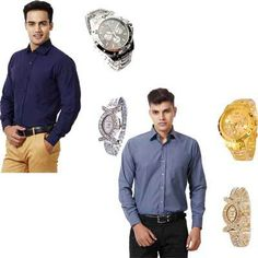 Hawk Formal Shirts With Pair Of Couple Watches Online at Discounted Price in India