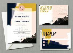 Modern Abstract Watercolor Wedding Suite // DOWN by blacklabstudio