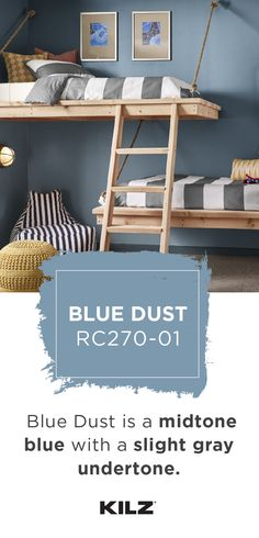 A mid-tone blue with a slight gray undertone, Blue Dust by KILZ COMPLETE COATⓇ Paint & Primer In One adds a traditional look to this kids' bedroom. Nautical stripes, pops of bright yellow, and light w