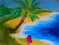 Coconut picker on Hawaii Beach: Writer mulling around....