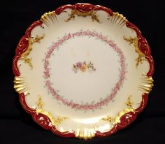 Ornate Rimmed Limoges Porcelain Cabinet Plate~ Hand Painted with Pink Roses, Gold Accents and Cranberry Rim ~ COIFFE / BLAKEMAN AND HENDERSON 1891-1914